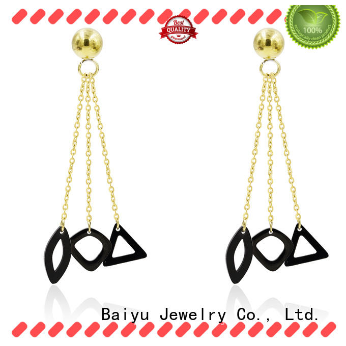 Baiyu Jewelry lucky modern dangle earrings triangle shaped for gifts