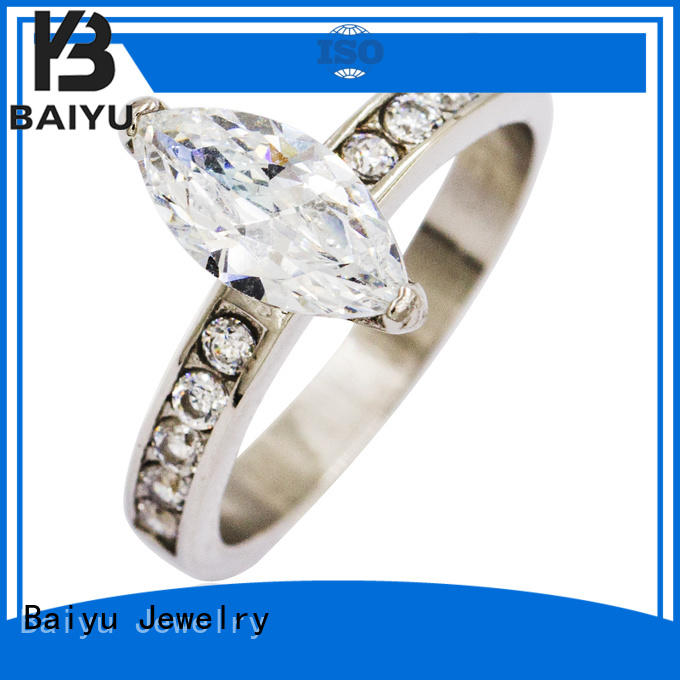 Baiyu Jewelry zircon mens stainless steel rings violet for gift