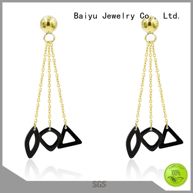 Baiyu Jewelry rhinestone dangle earrings with stone use for wedding