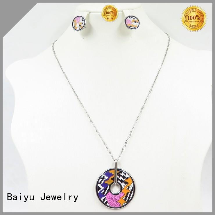 Baiyu Jewelry enamel pendant necklace with crystal use for engagement