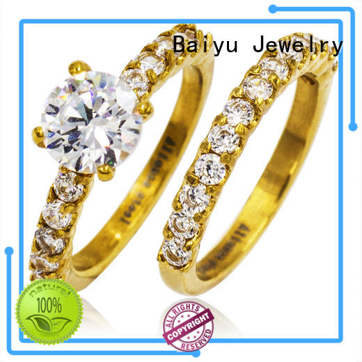 colorful beautiful couple rings material plated for women Baiyu Jewelry