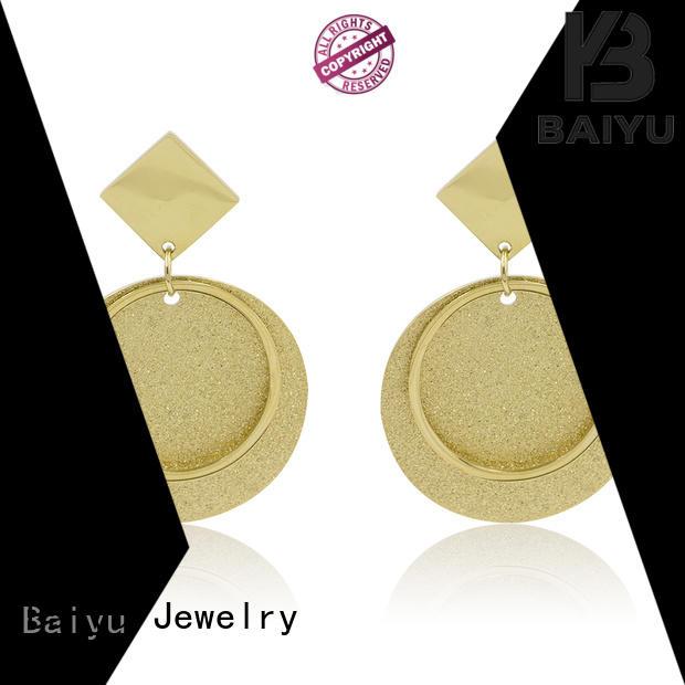 Baiyu Jewelry odm mens stainless steel stud earrings arabic for lady