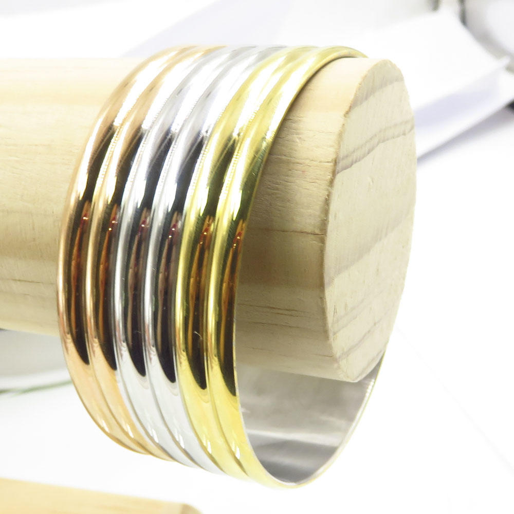 2018 Trendy products modern three tones design stainless steel bangle