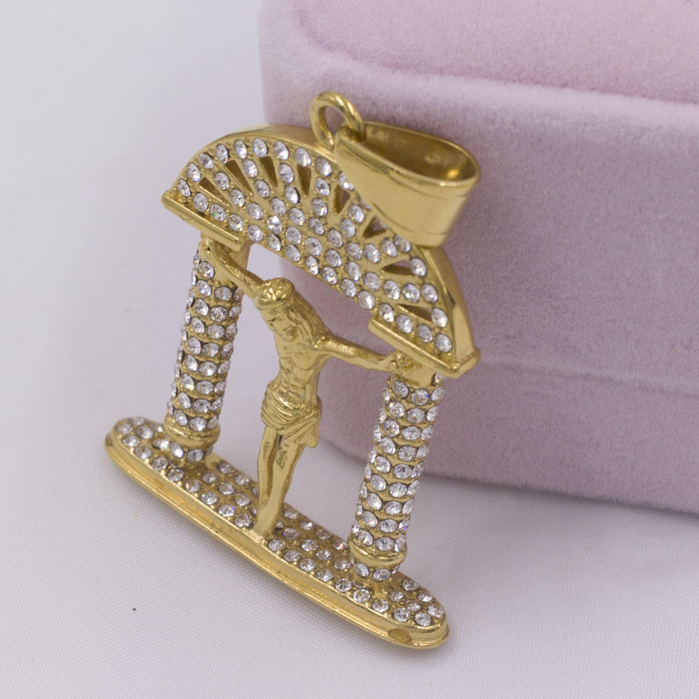Brilliant gold plated crystal casting religious virgin necklace