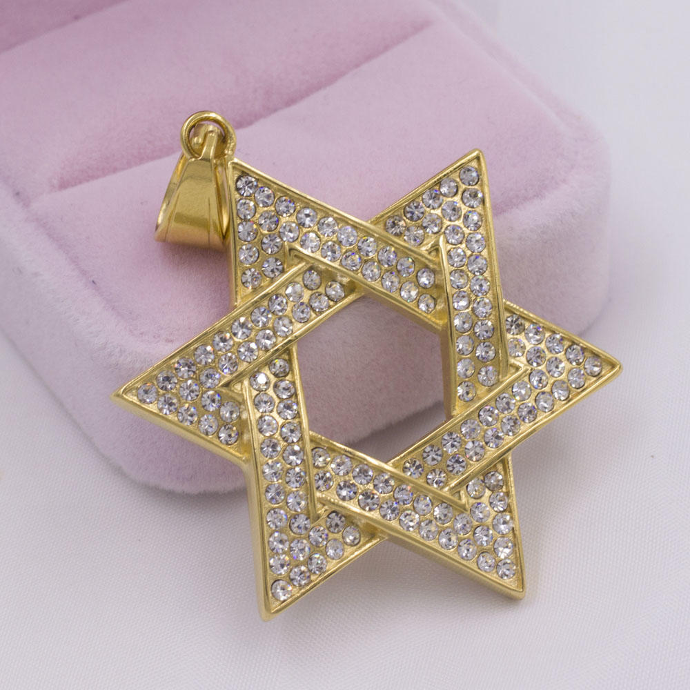 New design gold star shape fashion hexagonal necklace