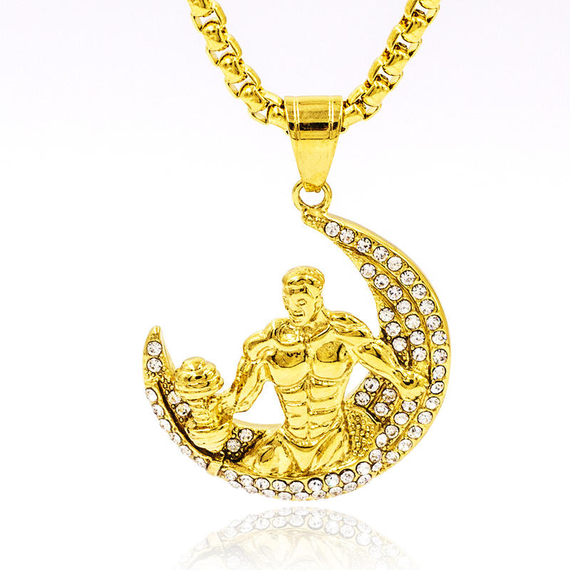 Wholesale custom gold boy pendant artisan strength symbol necklace