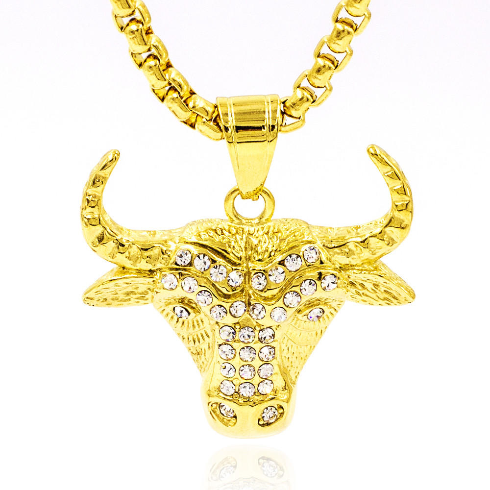 Magical bull head gold color carving necklace