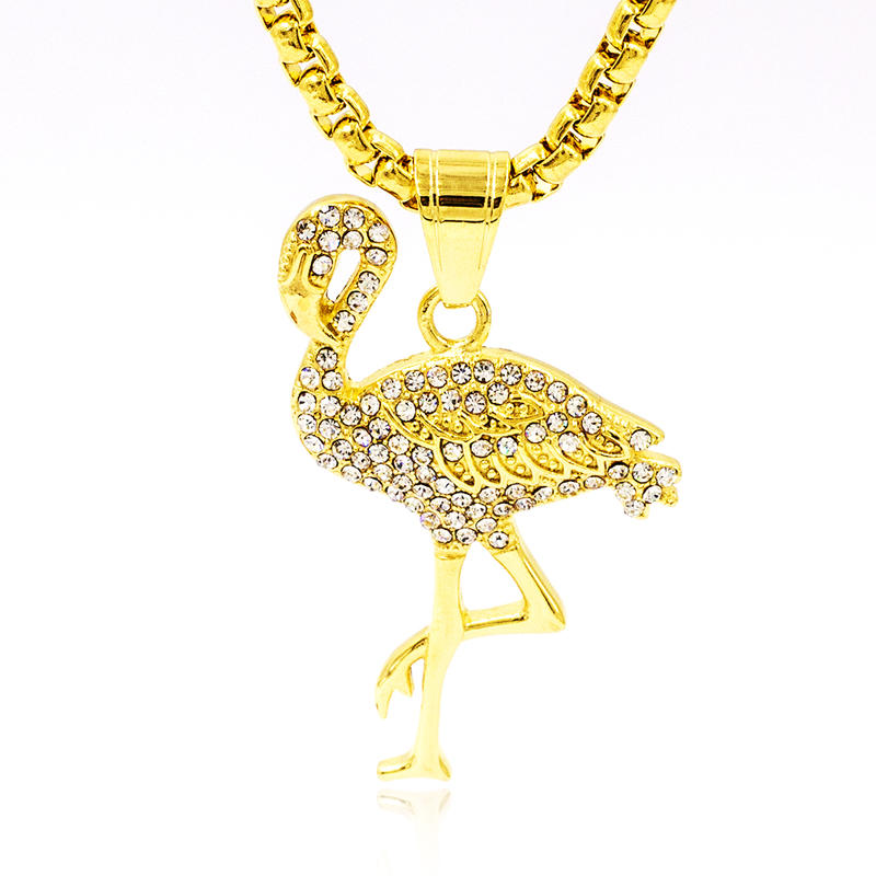 Wholesale China Fashion Jewelry flamingo animal pendant stainless steel gold plated glitter crystal women necklace