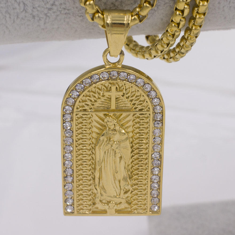 Hot selling wholesale Stainless steel men pendant religious virgin gold plated diamond necklace