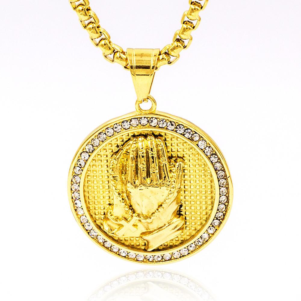 Wholesale 18K men gold pendant stainless steel jewelry diamond around prayer hand necklace