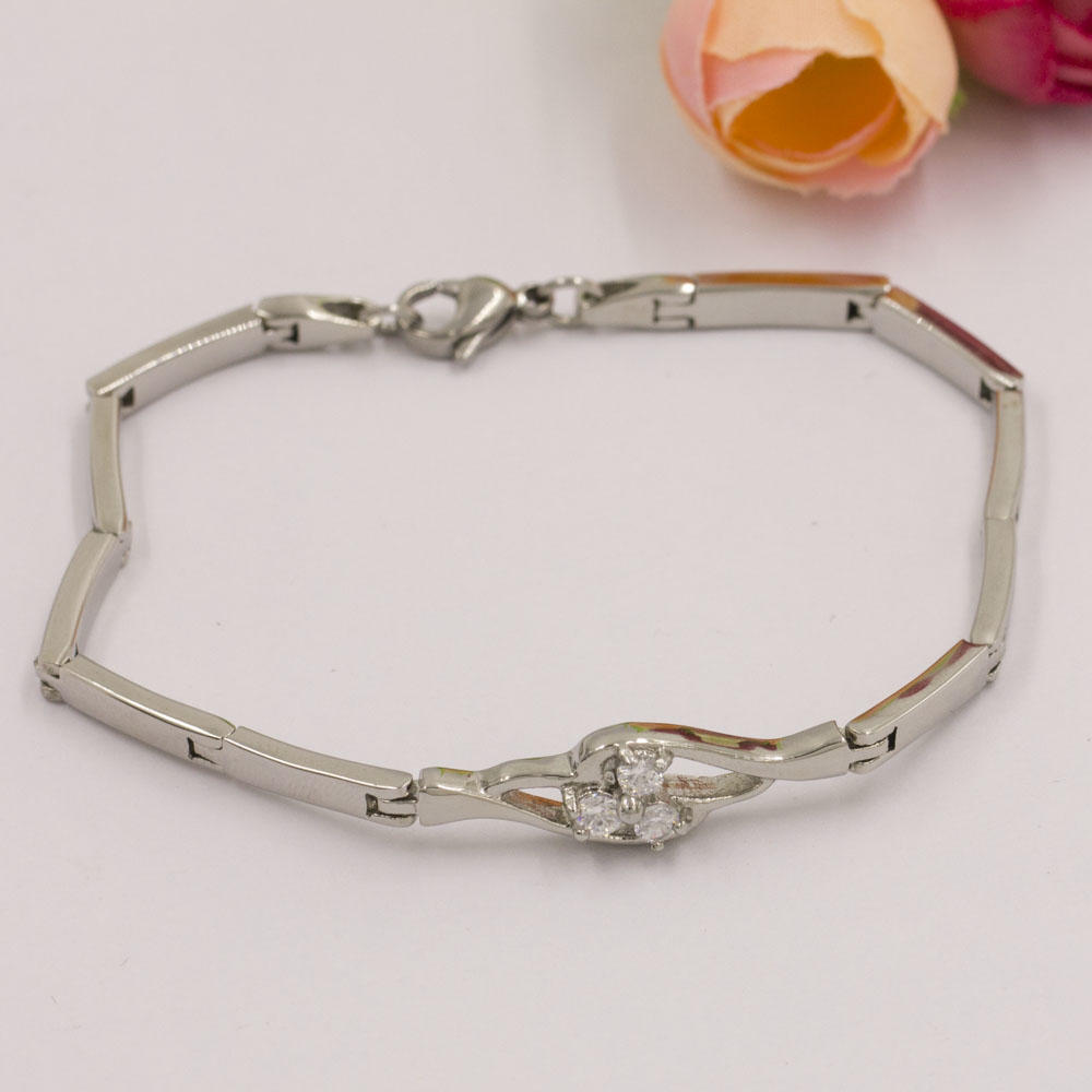 Stainless steel white stone silver link bracelet