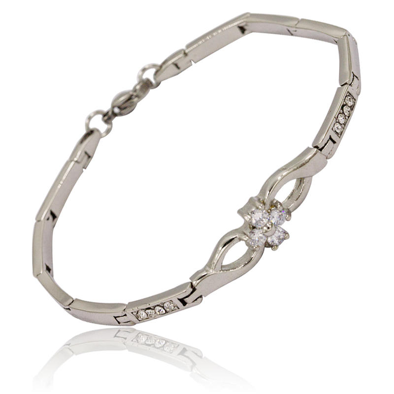 Stainless steel link chain stone bracelet jewelry for women