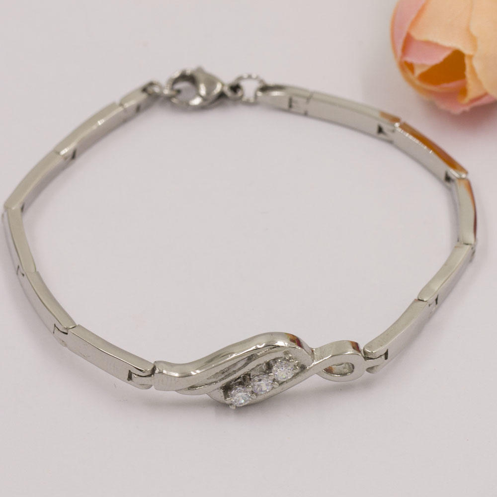 Stainless steel lucky stone bangle link bracelet
