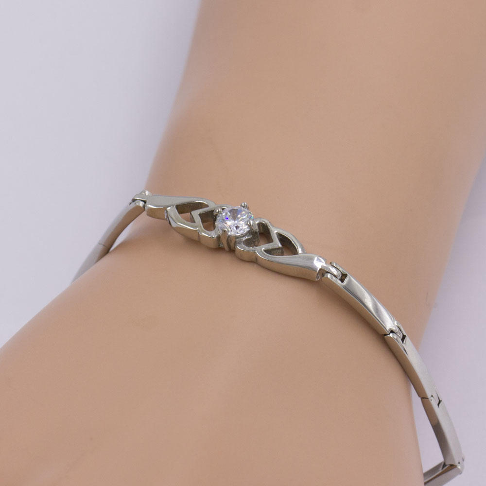 Stainless steel bangle link bracelet women with stone