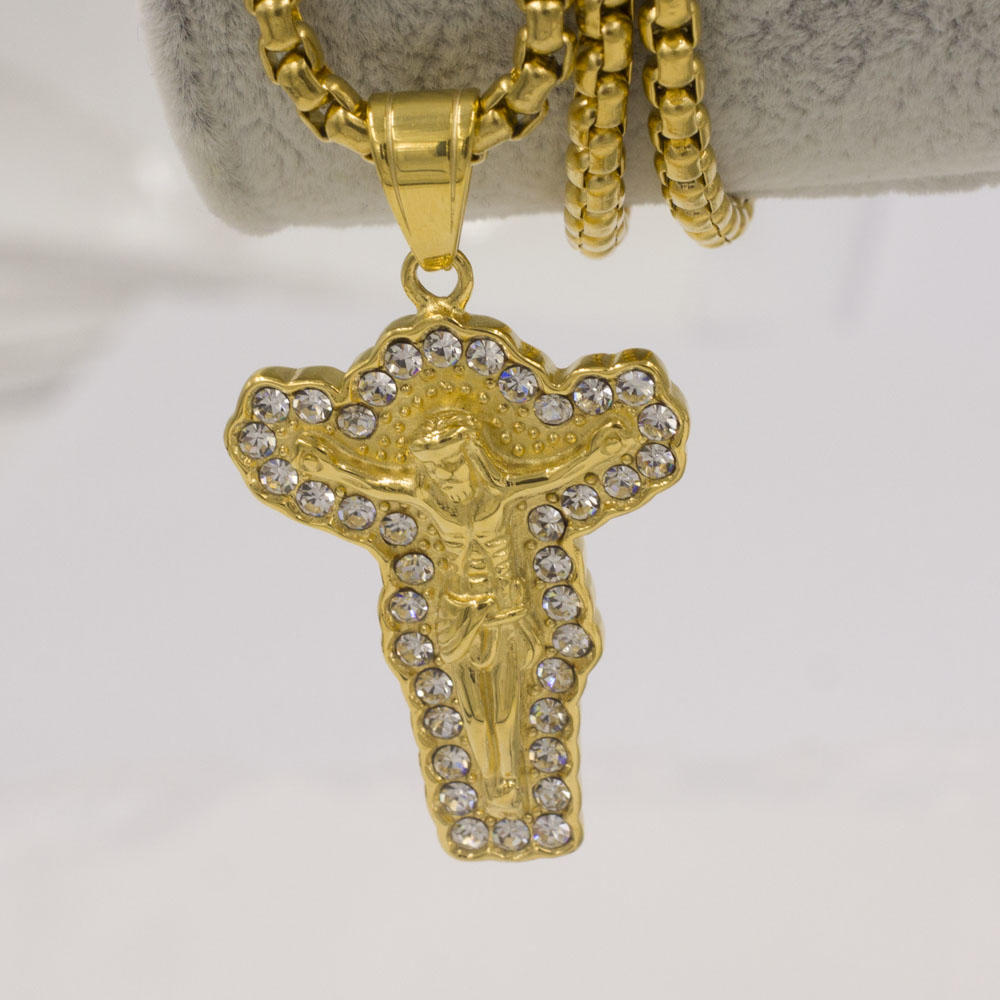 Divine jesus cross gold pendant necklace jewelry