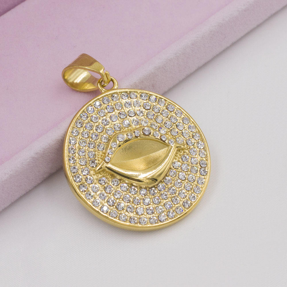 Gold plating lip shape round stone pendant necklace jewelry