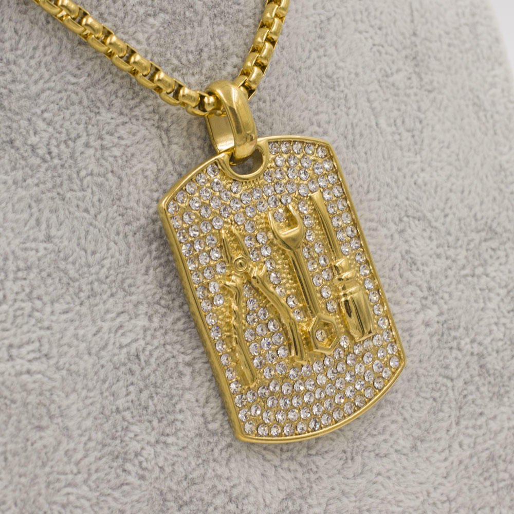 Wholesale bling bling crystal men pendant stainless steel 18k gold plated custom chain necklace