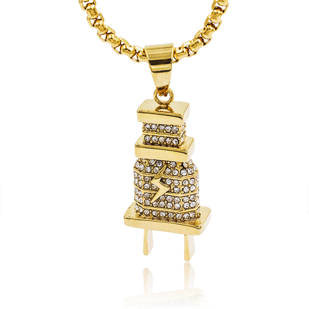 Wholesale  stainless steel  tower design gold pendant neckalce