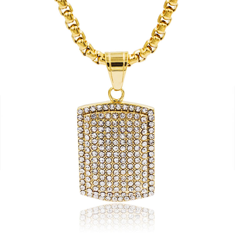 Hotselling 18k gold stainless steel diamond necklace men style  from  China