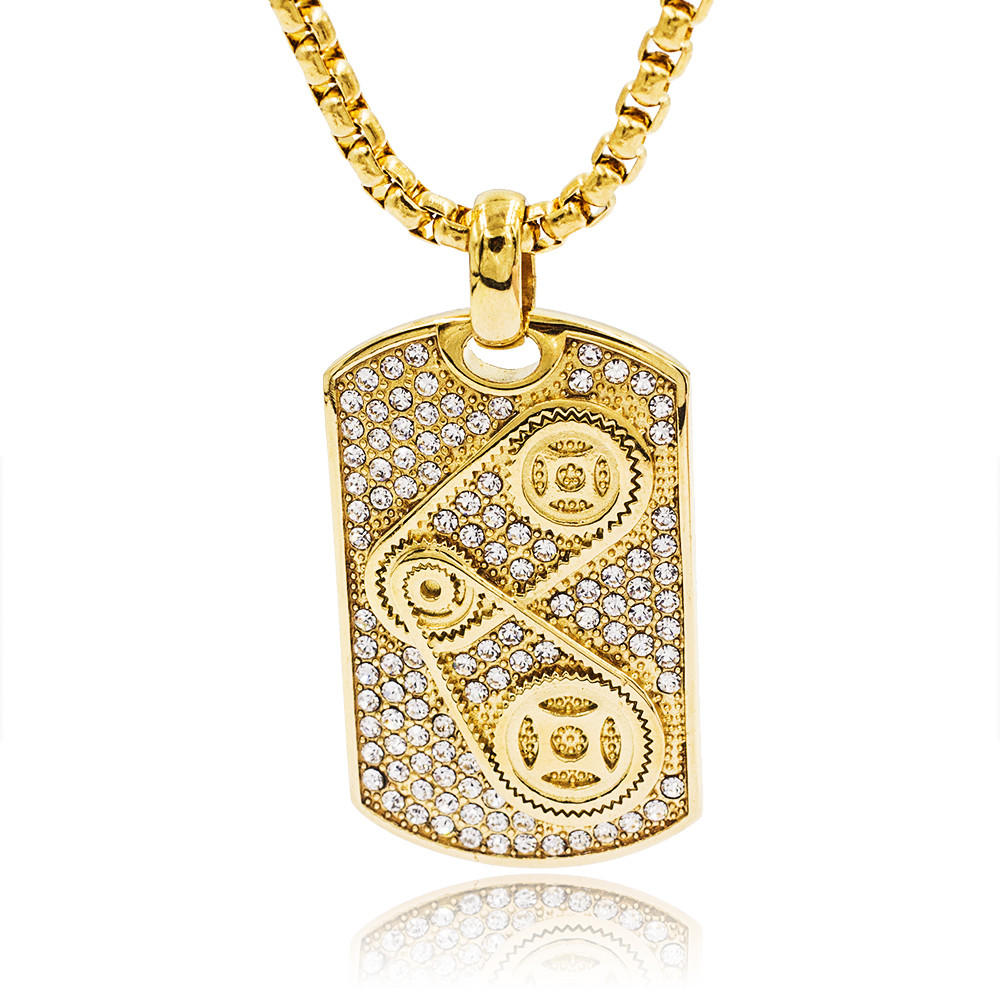 New arrival 24k gold stainless steel gold plated custom long necklace pendant for men
