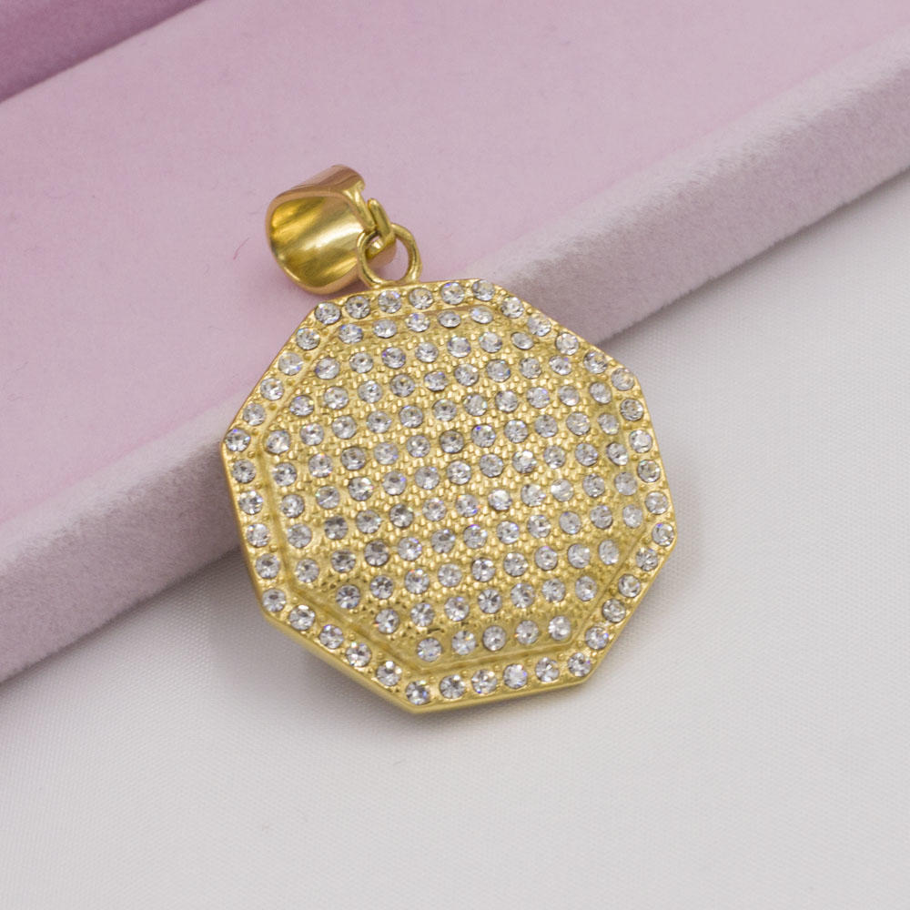 Wholesale crystal gold pendant stainless steel 18K chain necklace for men