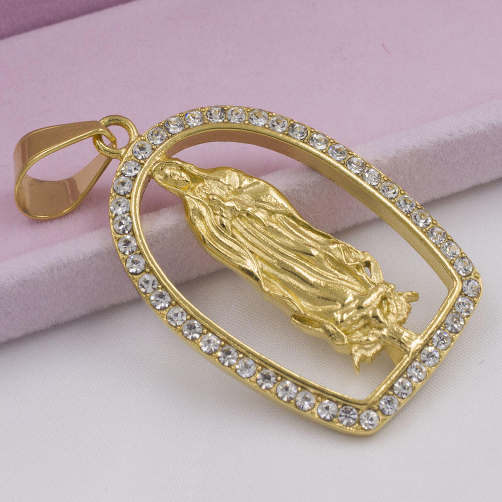 New arrival stainless steel gold religious diamond custom necklace