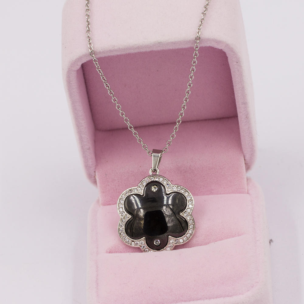 Stainless steel flower women pendant necklace with stone different color -VD057509biib-676