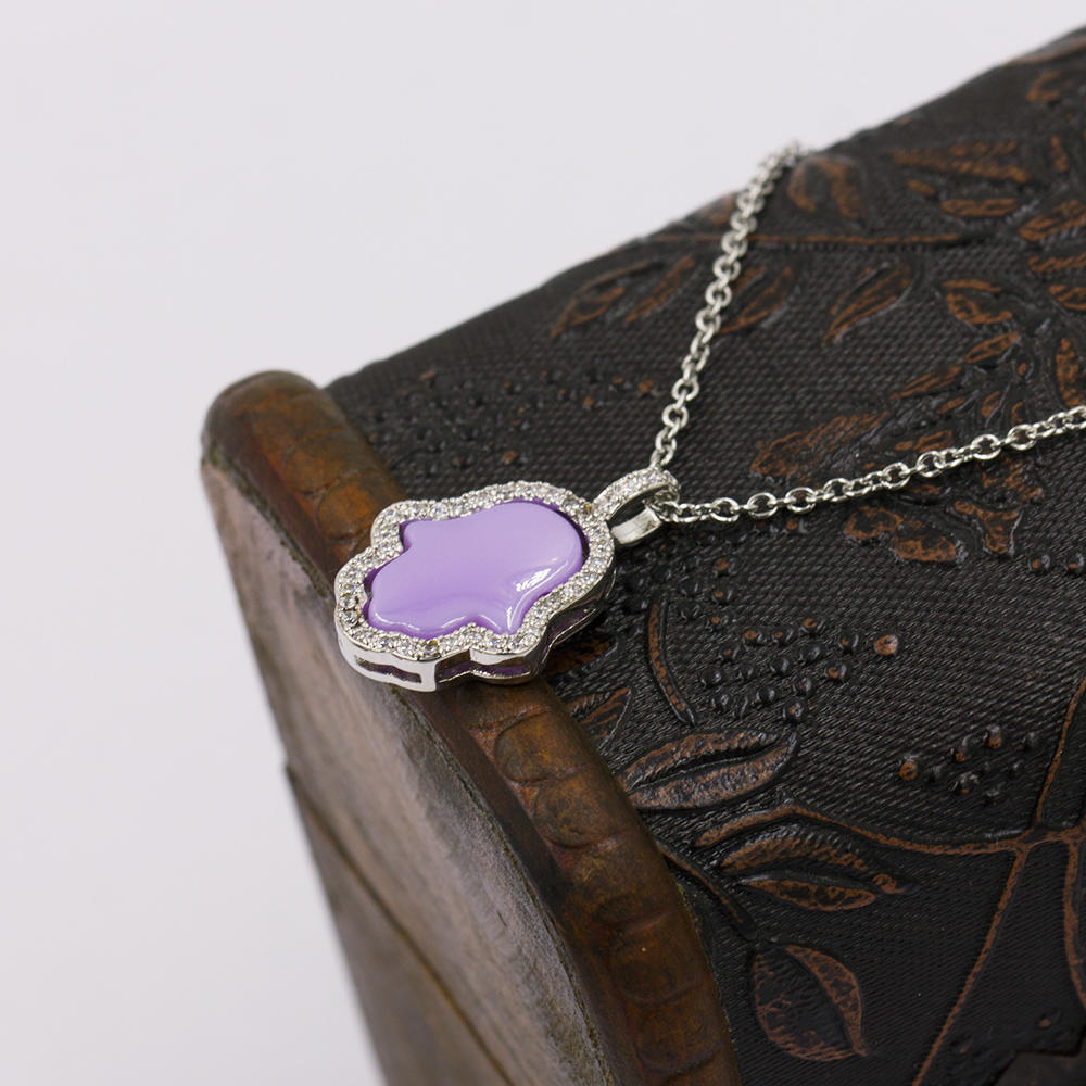 Stainless steel colorful hand & chain pendant necklace for women -VD057510vhmv-676