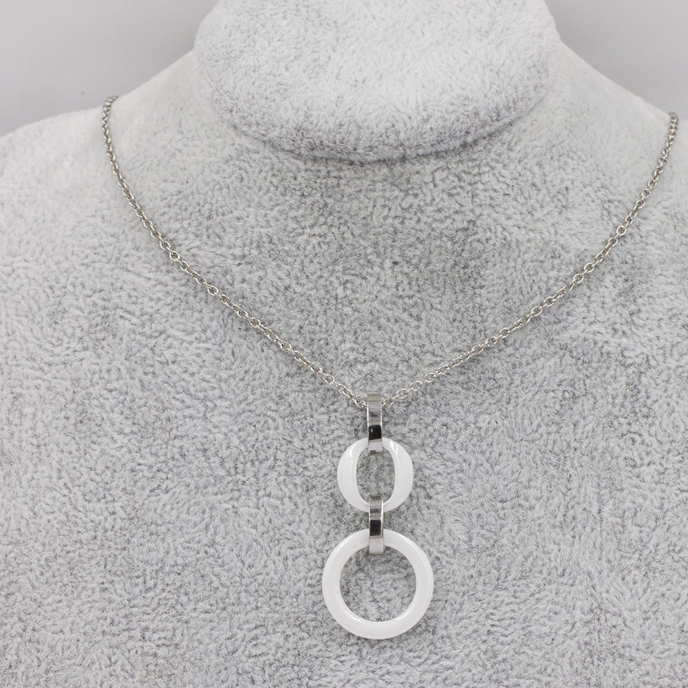Fashion necklace necklace round in stainless steel for women - VD057511bbov-676