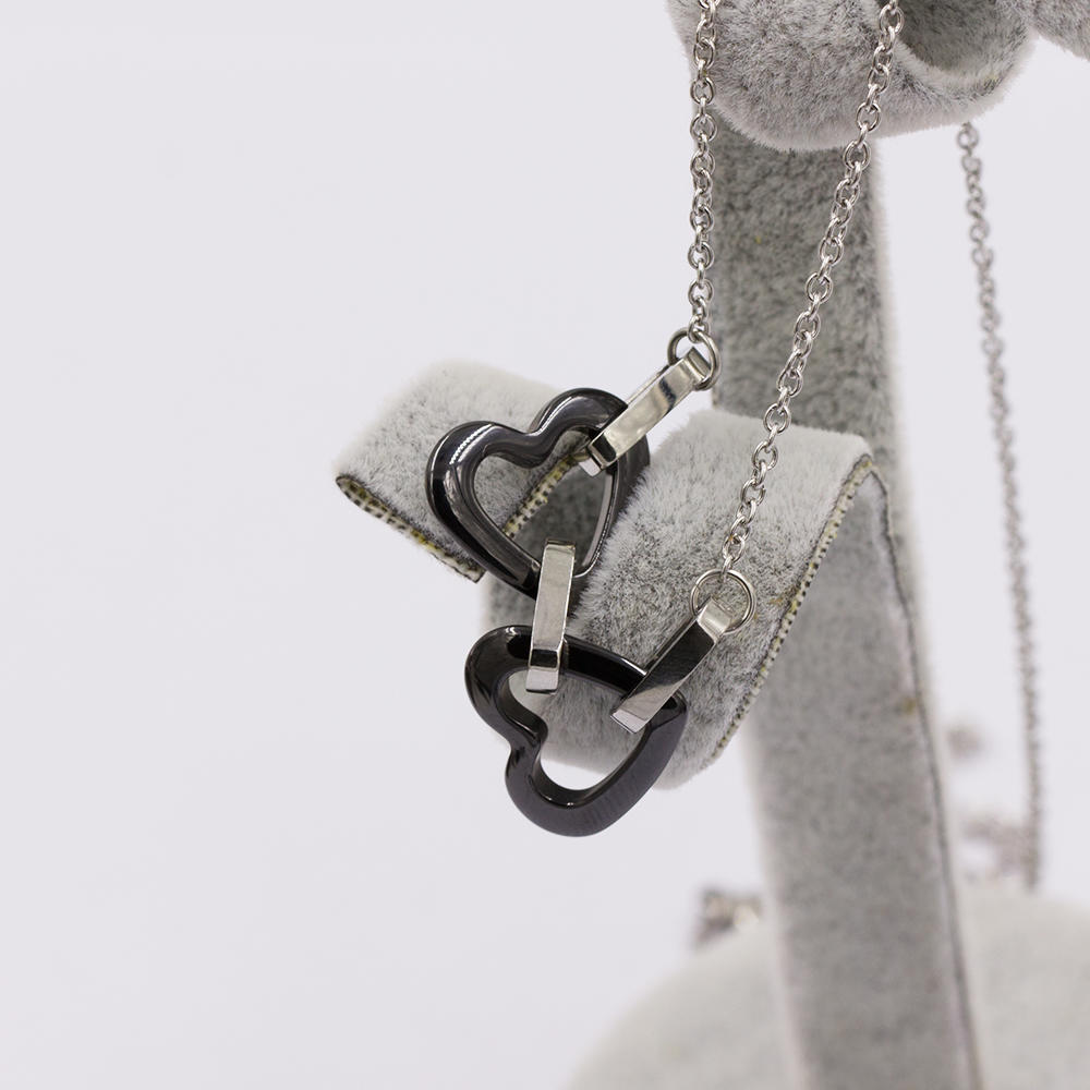 Fashion design love heart necklace in stainless steel for women - VD057512bhva-676