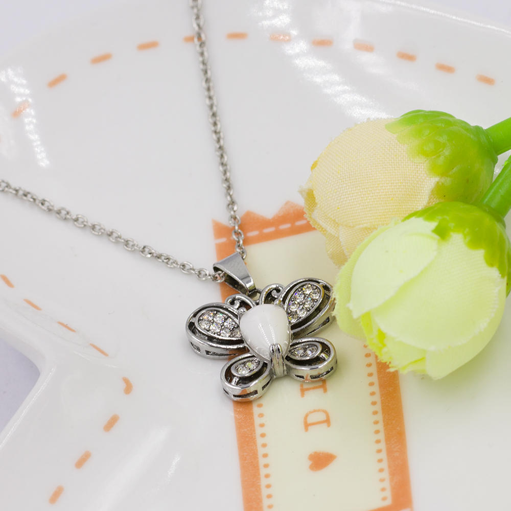 Low price steel engagement butterfly necklace with crystal - VD057515ahlv-676