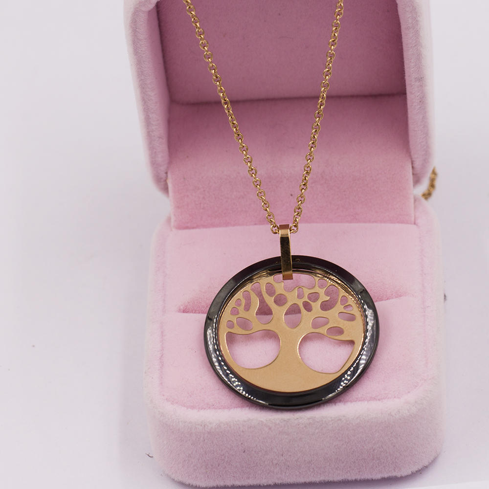 Stainless steel rose gold  fantasy tree necklace different color - VD057516ahjb-676