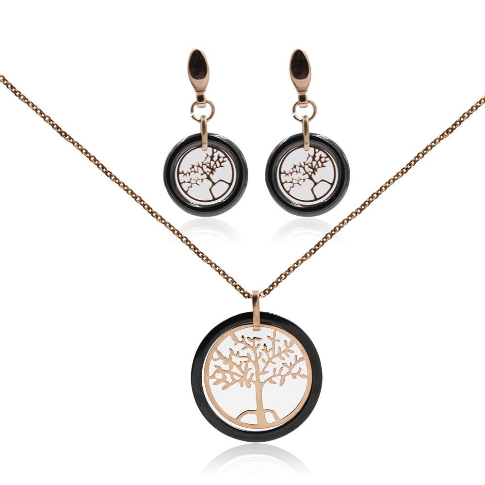 Lovely tree necklace set jewelery set in stainless steel for women - VD057761vila-676