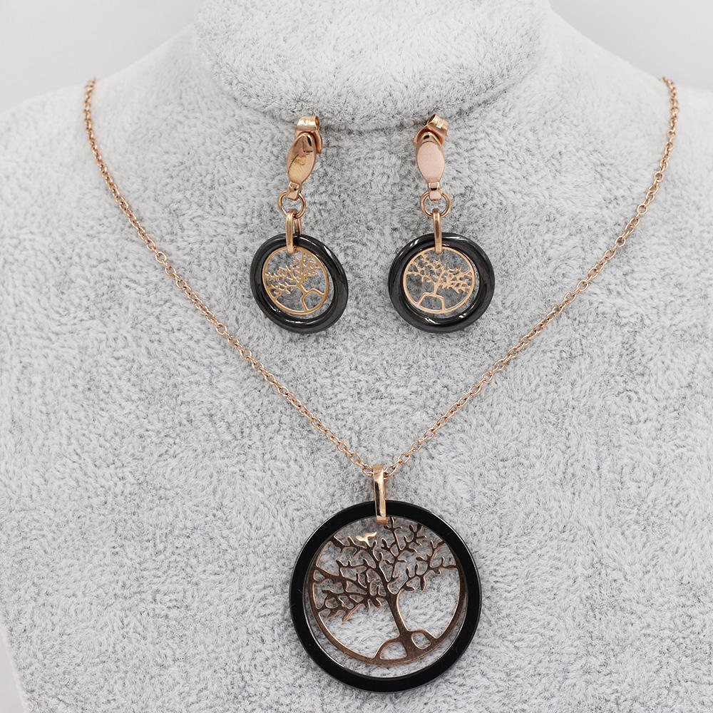 Lovely tree necklace set jewelery set in stainless steel for women - VD057761vila-676