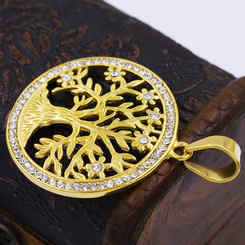 High quality crystal tree with flower dubai gold plated necklace pendant - VD057790vhha-640