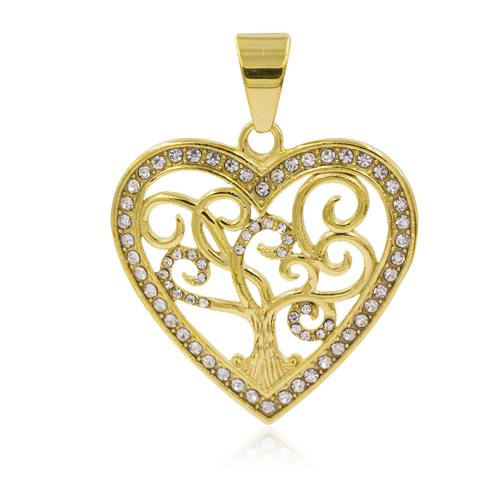 Stainless steel charm heart & tree gold plated necklace pendant - VD057791vhha-640