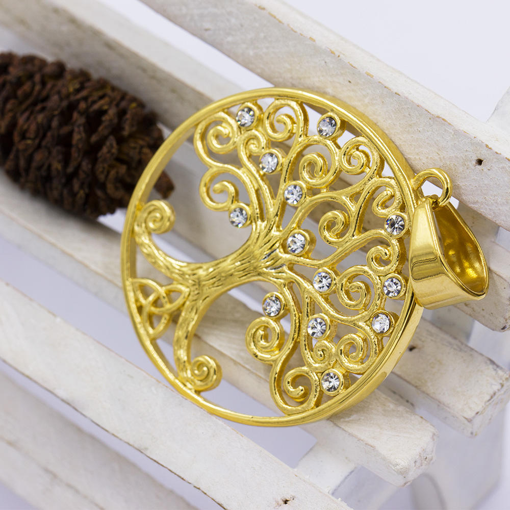 Factory gold big tree of life necklace pendant with crystal - VD057792vhha-640