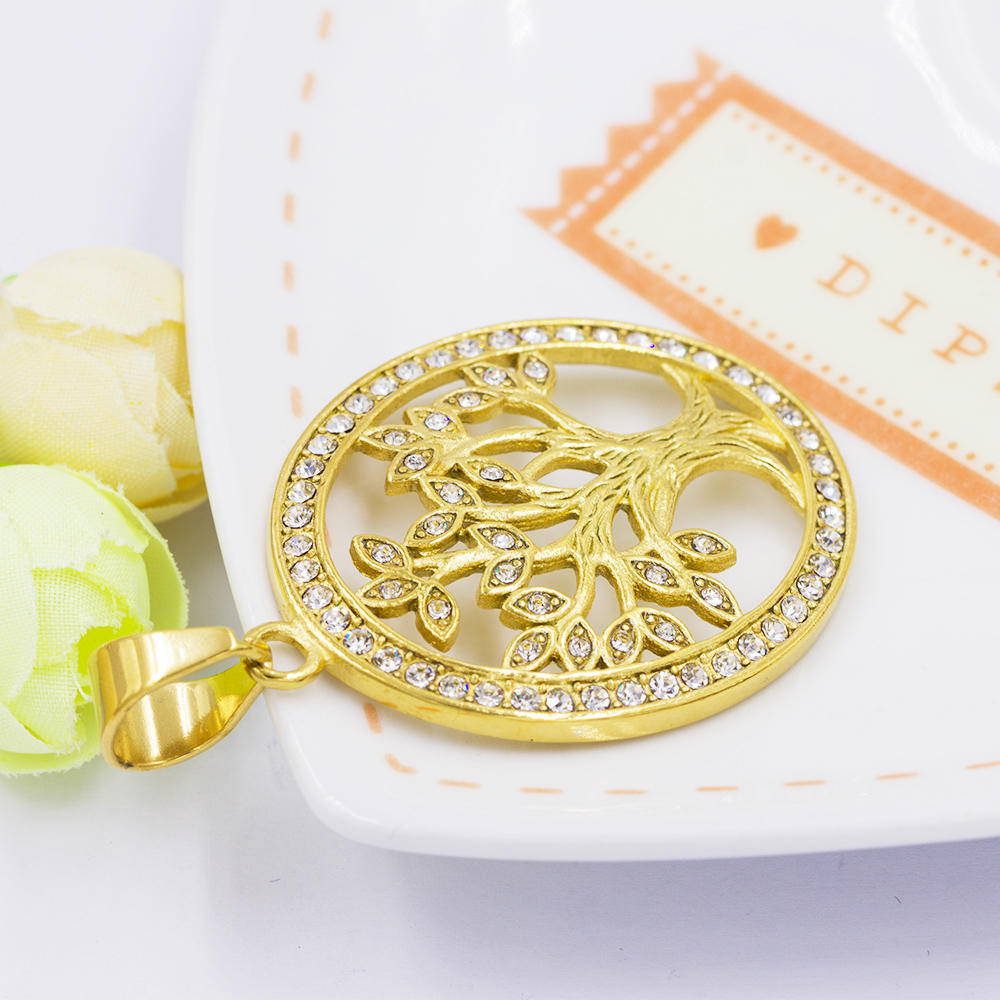 Custom life tree gold plated dubai pendant with crystal for women - VD057793vhha-640