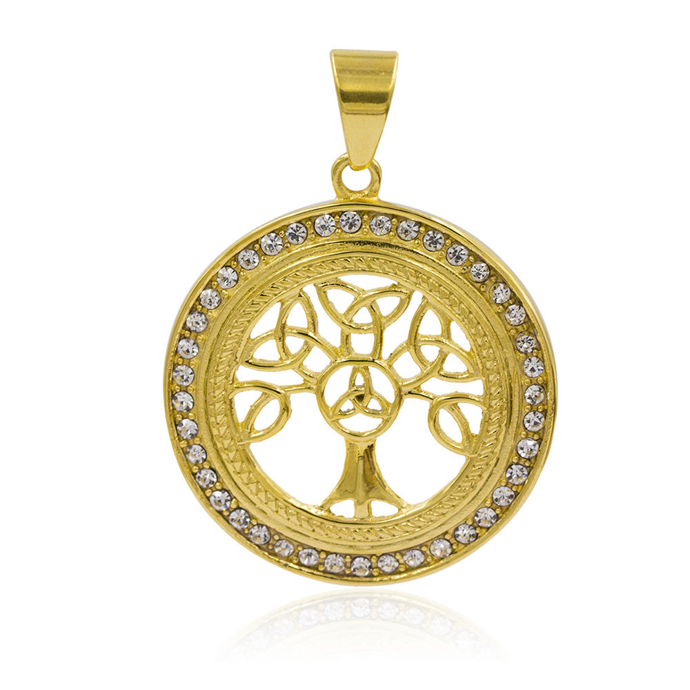 New design 18 K gold  hollow tree necklace pendant with crystal - VD057794vhha-640