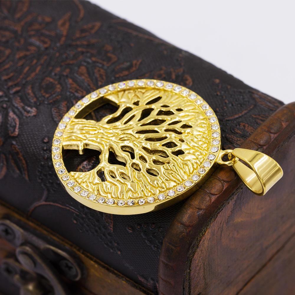 Wholesale gold round pendant ancient tree  necklace pendenat - VD057795vhha-640