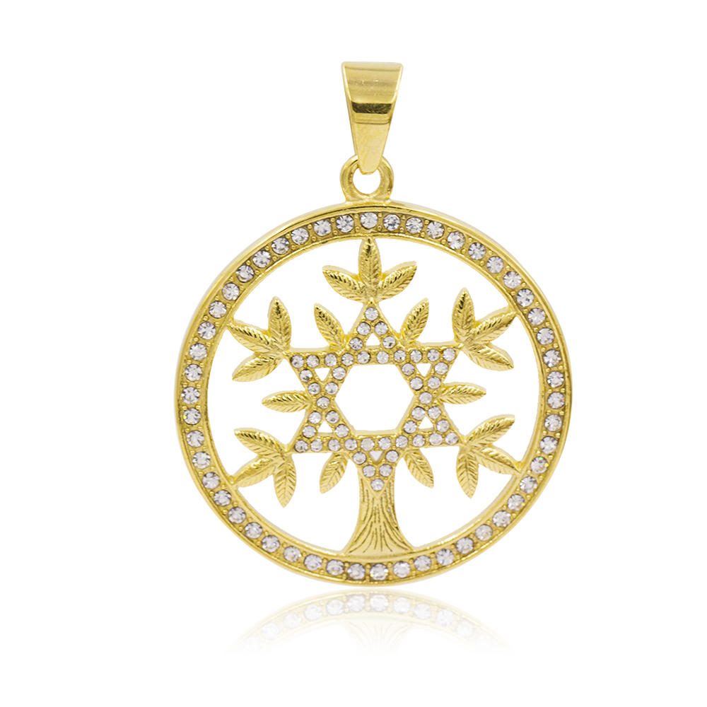 Gold plated star shape tree necklace pendant in stainless steel  - VD057796vhha-640