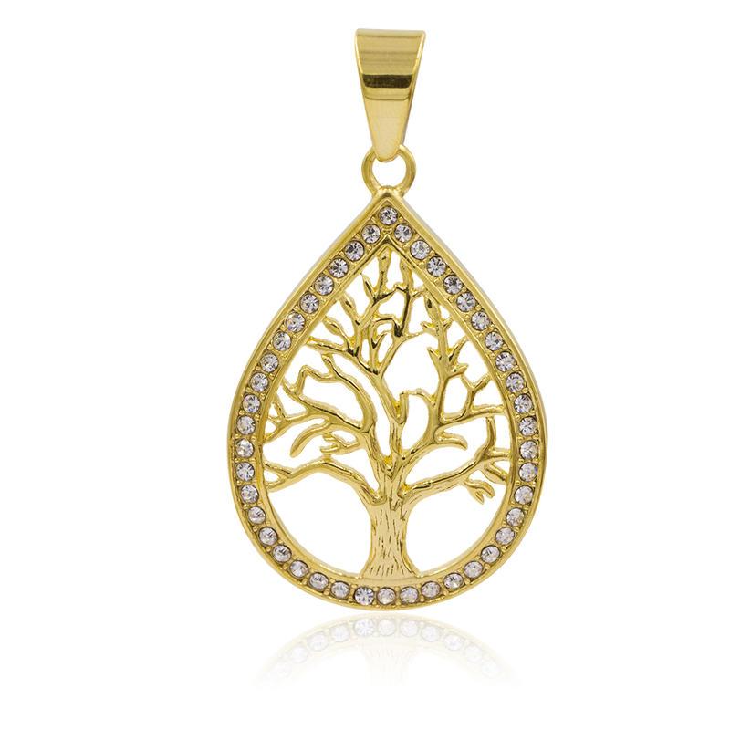 Golden dubai drop pendant hollow tree with crystal necklace pendant - VD057797vhha-640