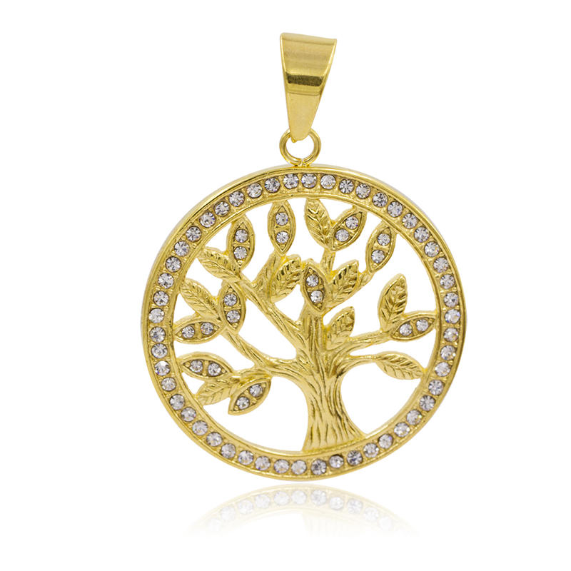 High quality stainless steel gold charm tree necklace pendant - VD057798vhha-640