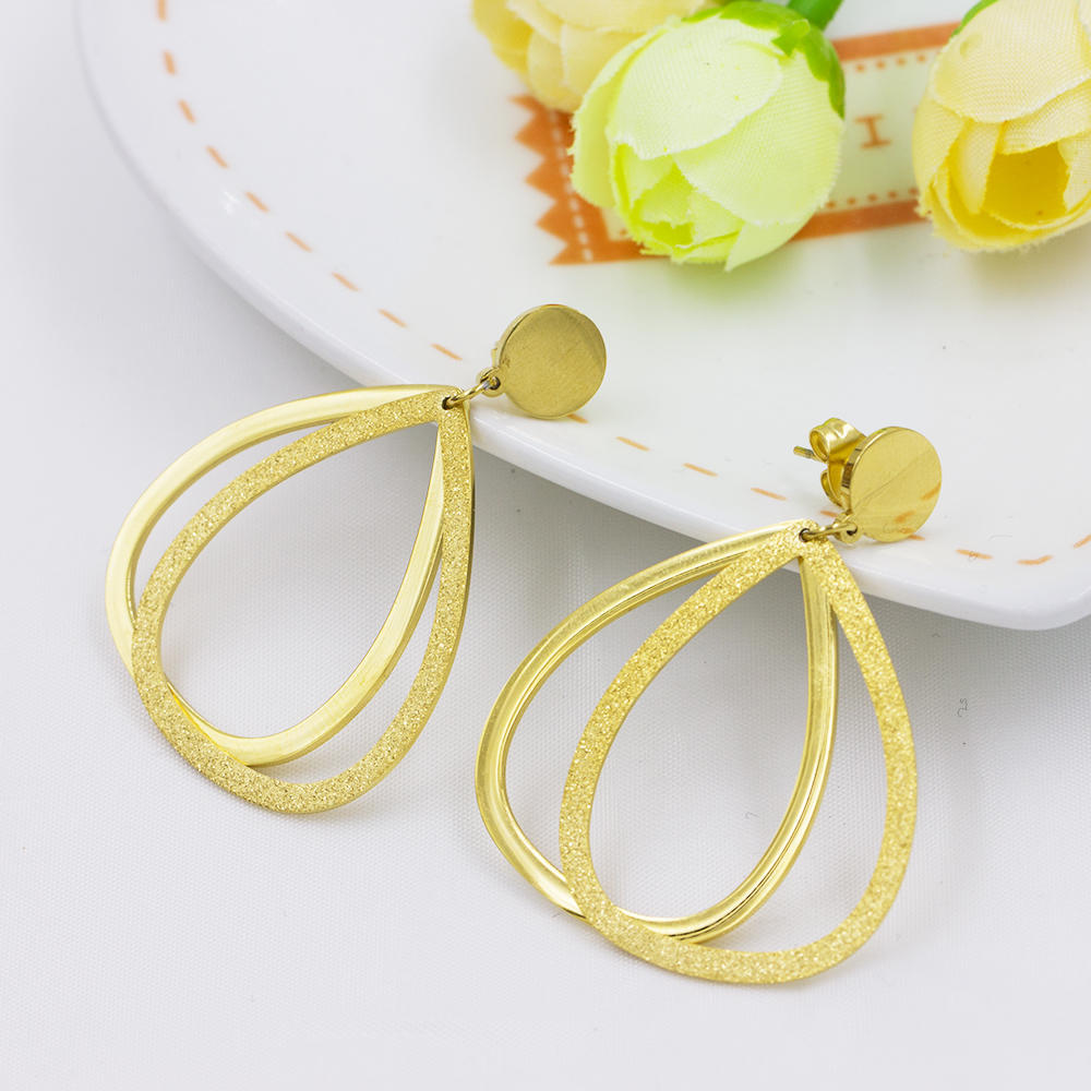 Simple style gold plated double drop bridal indian jewelry earrings - AW00021vbpb-371