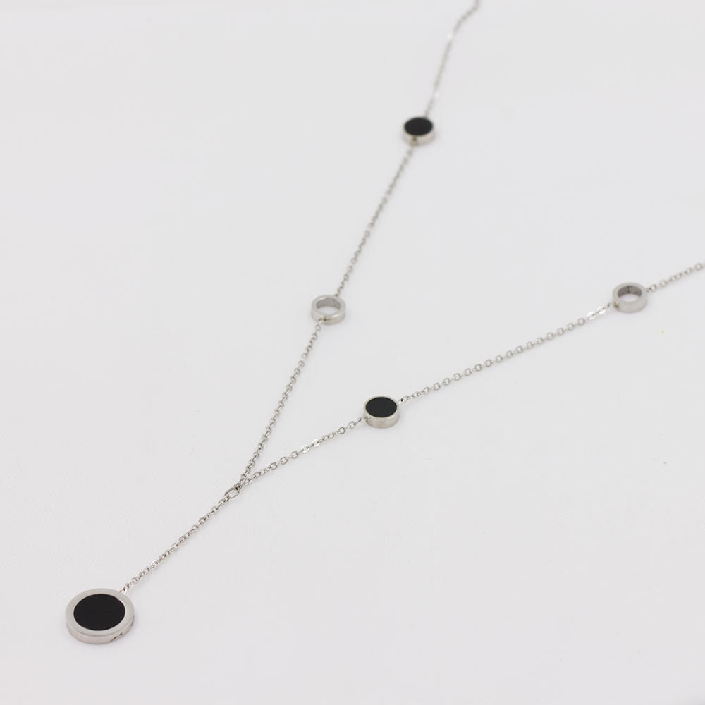 Stainless steel necklace charm necklace long linked chin necklace - AW00027bhia-371
