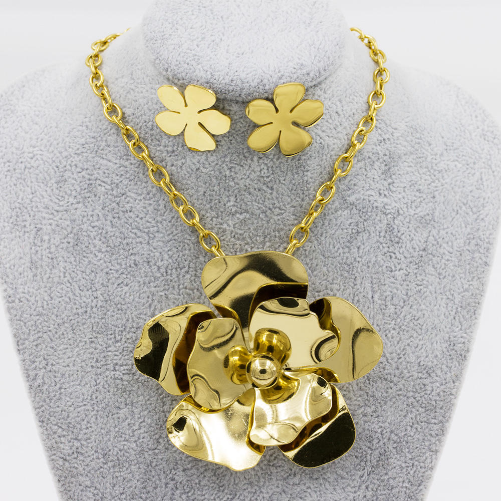 Stainless steel flower jewelry set fashion engagement jewelry set - AW00034biib-371