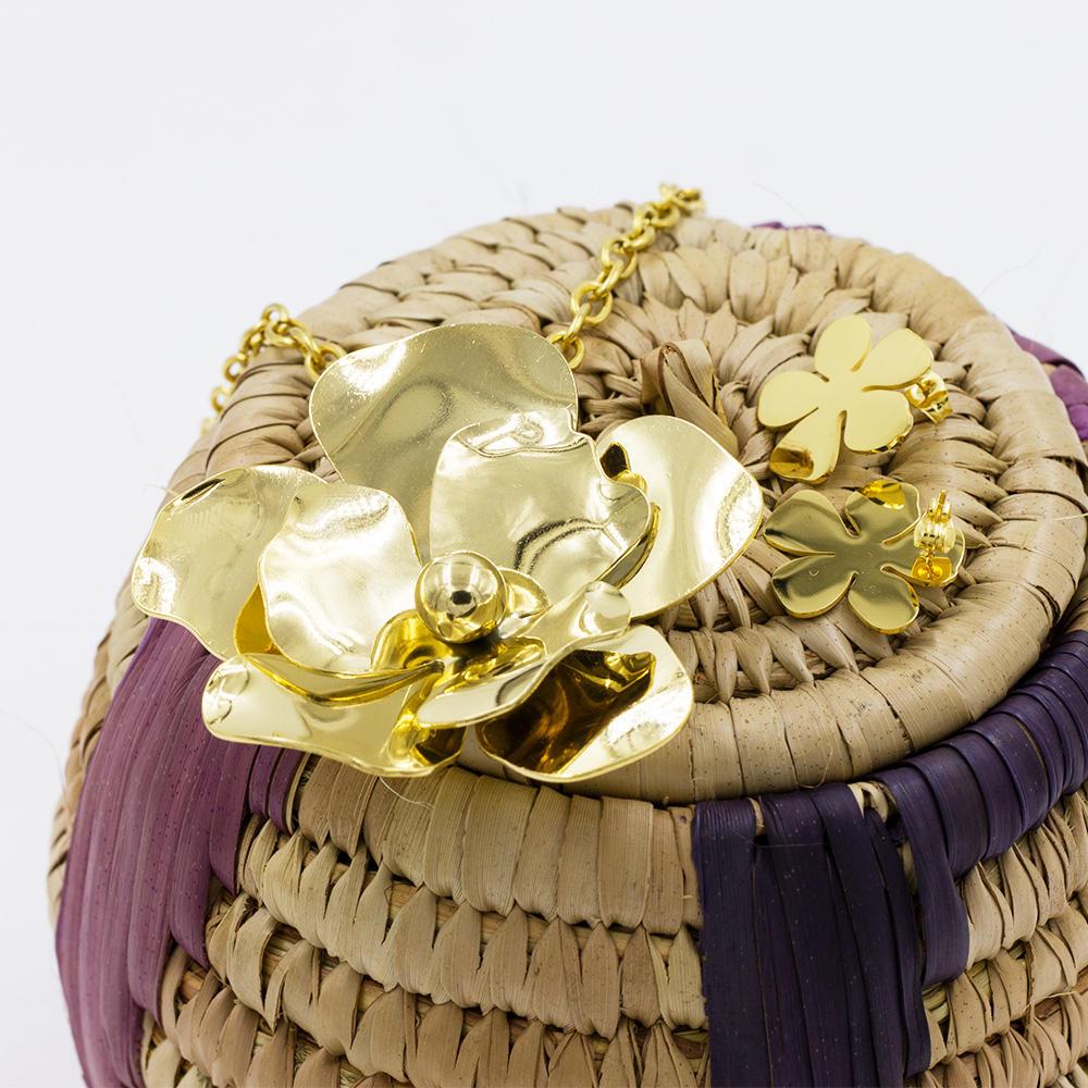 Stainless steel flower jewelry set fashion engagement jewelry set - AW00034biib-371