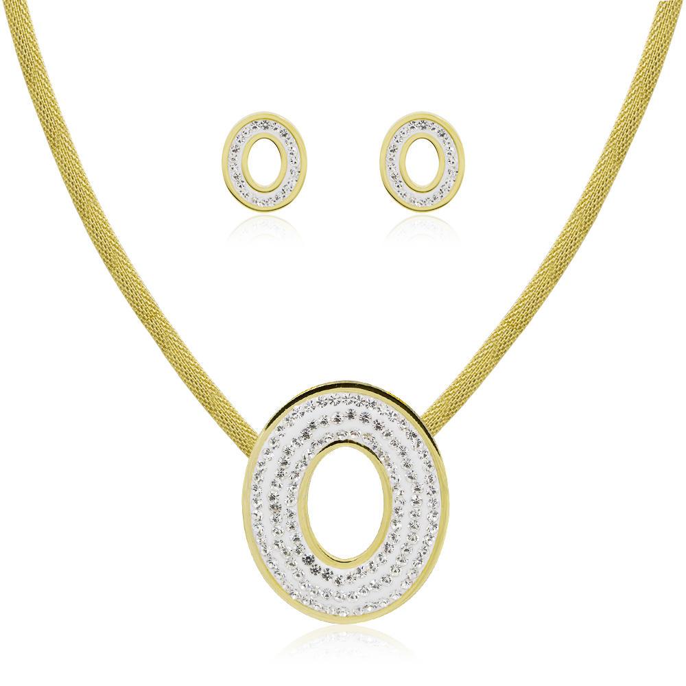 Dubai gold women's weeding jewelry set stainless steel jewelry set - AW00035vila-371