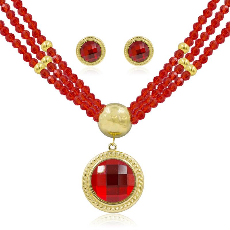 Dubai gold jewelry set bridal jewelry set wedding stone jewely set-AW00037ajia-371