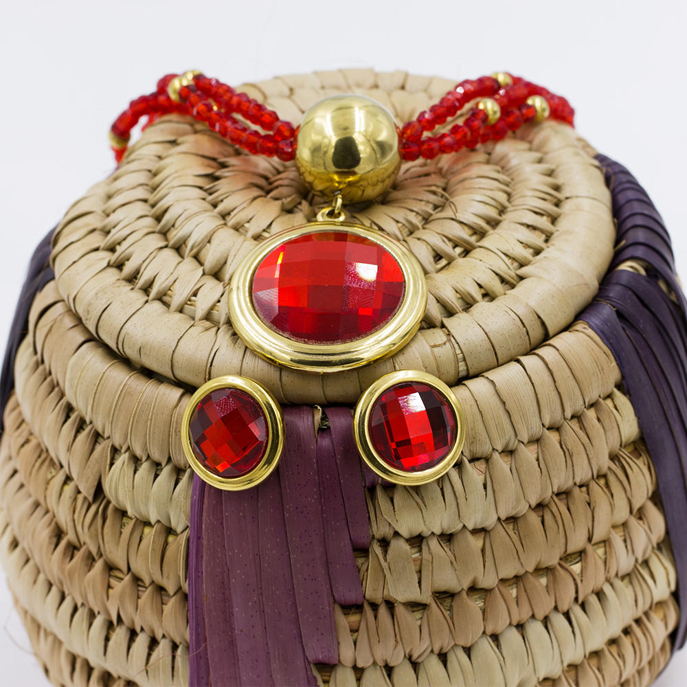 Wholesale red stone dubai gold  jewelry set for fashion woman - AW00039ajia-371